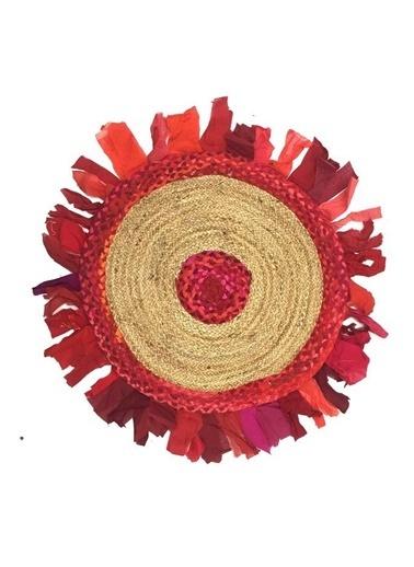 Giz Home Bolero Jüt Örgü Halı 90X90 Y8-459 Yuvarlak Püsküllü Kırmızı Kırmızı